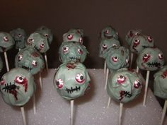 "How about some cute zombie cake pops for the kiddies?! (But maybe let's not let them watch the show...come on now.) | Horrifying Zombie-Themed Treats For The Ultimate ""Walking Dead"" Premiere Party"
