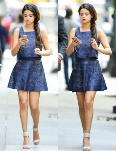 Selena Gomez // Street Style // Blue Dress