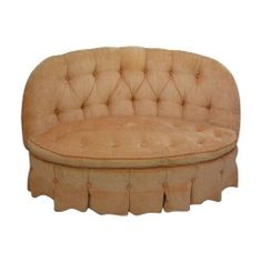 Vintage Petite Peach Settee by Chairish | Chairish
