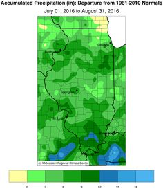 elow are the rainfall totals and departures from normal for July-August. Almost the entire state is dark green or blue on the left panel, meaning rainfall was in the range of 15 to 25 inches. The rainfall departures, right panel, were almost all green, indicating that rainfall was above normal for almost the entire state, except for small portions of ... (MRCC)