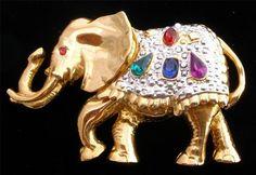 Large Bejeweled Rhinestone Elephant Figural Rhinestone Republican Brooch Vintage   eBay