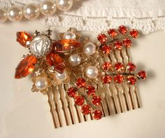 Vintage Coral & Orange Rhinestone and Pearl Bridal Hair Comb - 22K Gold Heirloom Brooch Hair Comb GORGEOUS. $61.99, via Etsy.