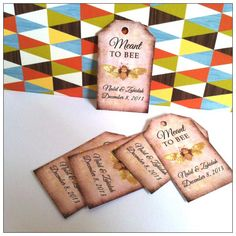 """Meant to Bee wedding tags is a sweet vintage looking gift tags for your wedding gifts. Tag is 2.5"""" by 1.5"""". It can be made into round tags too."""
