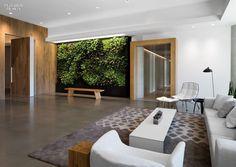 Main lobby idea - seating area with green wall, oversized oak doors.  By Feldman Architecture in San Francisco.  2014 BOY Winner: Small Corporate Office