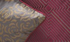 Valois fabric collection from William Yeoward uses rich colours & cut velvet fabrics to bring class, indulgence & opulence to extravagant interiors Roman Blinds, Jacquard Weave, Out Of Style, Cut And Color, Stripes, Colours, Pattern, Fabrics, Curtains
