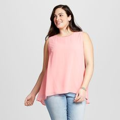 Women's Plus Size Perfect Layering Shell Coral 2X - Ava & Viv, Coral Ice