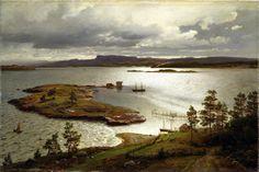 Hans Frederik Gude - Nationalmuseum, Stockholm NM 1343. The Fjord at Sandviken (1879)   #19th #boat #Classic #Hans #Fredrik #Gude #Lake #Painting #Scene