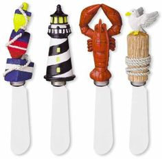 Coastal Nautical Lobster Buoy Party Spreaders Set of 4 by Boston Warehouse. $12.98. Each measures 5 inches in length. Stainless steel blades. Hand washing recommended. Boston Warehouse Coastal Nautical Lobster Buoy Party Spreaders Set of 4