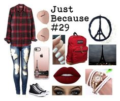 """""""Just Because #29"""" by music-lover-885095 on Polyvore featuring Converse, Madewell, Casetify, Ray-Ban, Lime Crime and JanSport"""