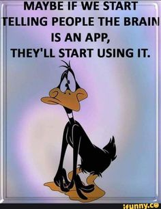 When you think you are Alone the First Hilarious Thing Comes in your Mind Hilarious one😂😂 Are you get it or not. Looney Tunes Funny, Funny Cartoons, Haha Funny, Funny Jokes, Hilarious, Daffy Duck Quotes, Cartoon Quotes, Sarcastic Quotes, Sarcastic Images