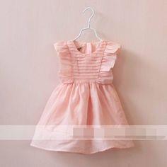 2015 Girls Dresses Ruffle Flare Sleeve Cotton Sleeveless Dresses 12003