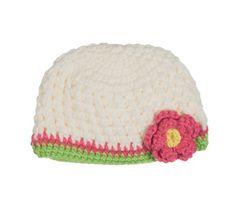 085b6ddf617 juDanzy knit crochet cream flower hat for babies   toddlers (Medium Years)