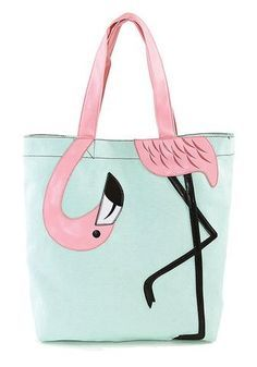 Sewing Bags Retro Retro Flamingo Tote Bag - Measures Approx: (L) x (W) x (H) -Quality canvas fabric material patent vinyl leather handle drop -Secure velcro closure slip pockets inside. Diy Sac, Gingham Fabric, Poplin Fabric, Tote Bags Handmade, Pink Bird, Pink Flamingos, Flamingo Beach, Leather Handle, Canvas Tote Bags