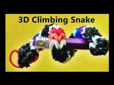 Rainbow Loom 3D Climbing Snake Charm Made with Loom Bands and Finger Loom tutorial by DIY Mommy