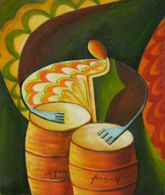 Wall Art finished in USA History: The Bongo Player is a hand finished canvas oil painting. This modern art oil painting combines bright colors and imaginative f