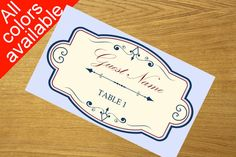Printable Place Card Template vintage by WeddingTemplatesHub