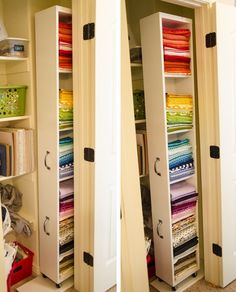 This clever blogger reclaimed some hard-to-reach space in her narrow closet by putting handles and wheels on an IKEA bookcase. When she needs it, she can simply pull it into view (instead of fumbling around in a dark corner). See more at Smile Like You Mean It »  - GoodHousekeeping.com