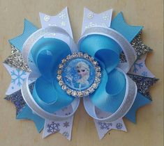 Your place to buy and sell all things handmade Frozen Hair Bow Elsa Hair Bow Frozen Hair Bows, Baby Hair Bows, Ribbon Hair Bows, Bow Hair Clips, Princess Hair Bows, Hair Bow Tutorial, Flower Tutorial, Bow Pattern, Handmade Hair Bows
