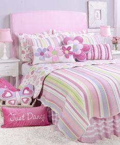 Look at this #zulilyfind! Pink Lorelai Stripe Quilt Set #zulilyfinds