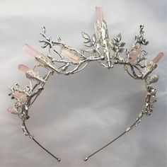 L'INDIE ROSE Couronne - Quartz Rose Pale et feuille cristal Couronne Tiara - mariée, rituel, coiffe, Festival, Halloween, bal