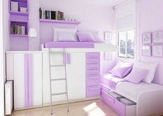 Neat storage and beds idea. And it is purple, too!