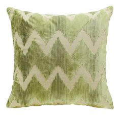 Chevron cut velvet pillow in shades of green. Solid taupe velvet backing. 95% Feather 5% Down Insert. Made in the USA