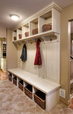 When we were looking at floorplans, the areas I looked first for were: an entryway where the kitchen couldn't be seen, a mudroom, and a lar. Mudroom Laundry Room, Laundry Room Organization, Organization Ideas, Laundry Baskets, Storage Ideas, Mudrooms With Laundry, Mud Room Lockers, Mudroom Organizer, Built In Lockers