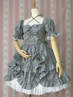 Gingham Frill Doll Dress, Victorian maiden
