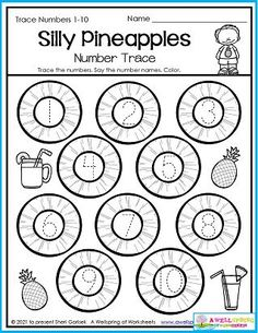 Pineapple! What a great fruit to have in the summer! Have your kids try it if they haven't already. It's so yummy! You could also have your kids try this Silly Pineapples number tracing summer worksheet. It's for numbers 1-10 and a great way to practice number tracing without having to work too hard in the summer. Ha ha! You'll find this worksheet in my 30 page August Counting Worksheets set. It's chock full of summer fun! Counting Worksheets For Kindergarten, Summer Worksheets, Graphing Worksheets, Kindergarten Math, Trace Trace, Number Tracing, Writing Lines, Numbers 1 10, Learn To Count