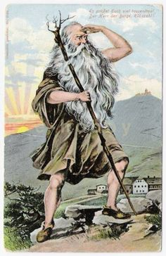 Mountain Spirit, Spirit of the Giant Mountains (Rube, Giant Mountains, Cards Polish and places associated with the Polish. Prague Czech Republic, Vintage Postcards, Occult, Folklore, Mystic, Fairy Tales, Germany, Old Things, Fantasy