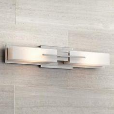 "Possini Euro Collection Midtown 23 1/2""-W Satin Bath Light - 2x60W T10 (hal) bulbs"