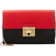 Milly Sienna Clutch (207,600 KRW) ❤ liked on Polyvore featuring bags, handbags, clutches, purses, bags 3, malas, red, chain strap handbag, hand bags and man bag