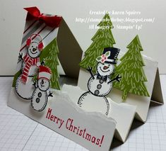 Really like the tree texture Stampin' By The Bay: Snow Place Side Step Card Stampin Up Christmas, Christmas Cards To Make, Xmas Cards, Handmade Christmas, Holiday Cards, Prim Christmas, Fun Fold Cards, 3d Cards, Pop Up Cards