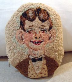 Fantastic Folky 1940's Hand Hooked Rug Pillow W/linen Back
