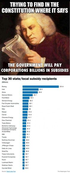 Five corporations have achieved a trifecta ranking among the 50 largest recipients of three kinds of funds state subsidies federal grants and tax credits and federal loan. Bernie Sanders, By Any Means Necessary, Thats The Way, Republican Party, Greed, Constitution, Social Justice, We The People, In This World