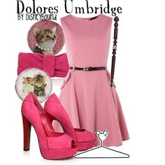"""Dolores Umbridge"" by lalakay on Polyvore - I love her wand, and the dress is cute."