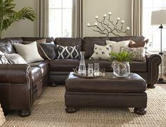 Banner 2 Piece Sectional Living Room Decor Brown Leather Couchblack