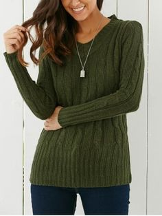 V Neck Cable Knit Longline Sweater