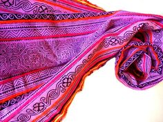 Medium Pink Scarf Hmong Scarf Tribal Scarf Pink by MiriTextiles