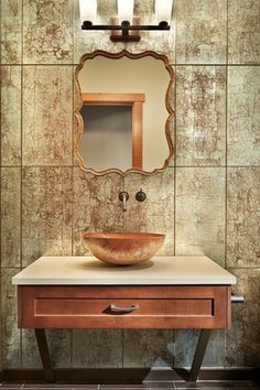 Eclectic Powder Room with Vessel sink, Flat panel cabinets, Powder room, Harloff Wall Mirror, Copper, Corian counters, Flush
