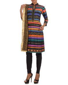 Black Multicolour Printed Straight Suit #Psychedelic #Fashion #ManishArora #Sale #Discount #Love #Designer #Indian #Ethnic #Fusion #Digital #Printed