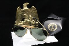"""TRUE Vintage Ray Ban AVIATOR """"General"""" 12k Gold with free replacement case  #RayBan #Aviator"""