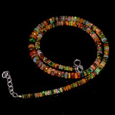 "58CRTS 3.5to6MM 18"" ETHIOPIAN OPAL RONDELLE FACETED BEADS NECKLACE OBI3836 #Opalbeadsindia"