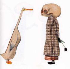 """""""L'anatra la morte e il tulipano"""" di Wolf Erlbruch.  Esistono anche molti albi illustrati con storie commoventi o tristi, e ci sono albi illustrati di poesia: in questo caso le illustrazioni aiutano il bambino e l'adulto a riappropriarsi di un linguaggio che si pensava desueto per riscoprire il potere evocativo della poesia o la forza formatrice di temi come la morte o il dolore."""