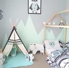 Kids bedroom inspo Mint, mountains, house bed, teepee