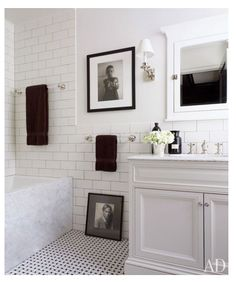 Love the vanity, the floor tile and the wall tile. Great for a bathroom with no natural light.