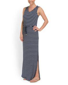 Striped Tie Waist Maxi Dress