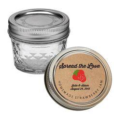 Spread The Love Wedding Favor Stickers - Custom Mason Jar Labels - Brown Kraft Canning Jam Jelly Labels  https://www.etsy.com/listing/195452264/spread-the-love-wedding-favor-stickers?ref=shop_home_feat_4
