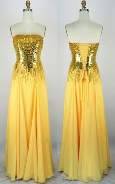 Gold A Line Strapless Chiffon Floor Length Sashes Ribbons Long Prom Dress