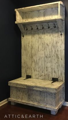 """This hall tree is a custom piece and will be built to fit your space. The hall tree shown is 43"""" wide by 81"""" tall and has a painted distressed finish. If you would like anything different from the pic #WoodworkingIdeas"""